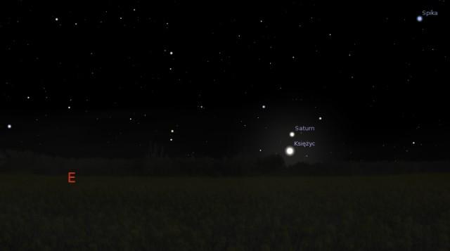 Księżyc i Saturn 29.12.2013 godz. 4:30