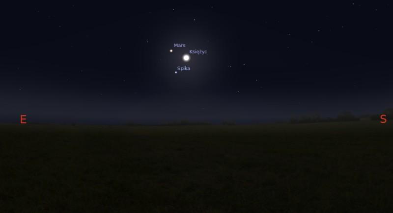 Księżyc, Mars i Spika 23.01.2014