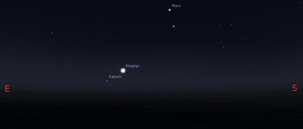 Księżyc i Saturn 25.01.2014 godz. 2:30