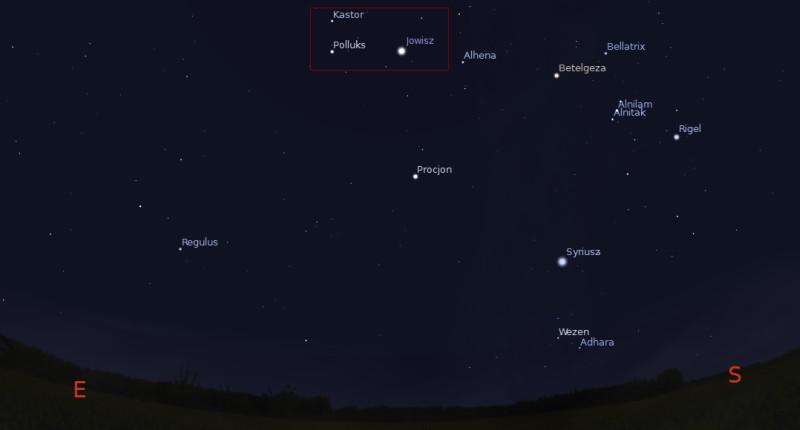 Pozycja Jowisza na niebie w czasie opozycji 22:11 05.01.2014