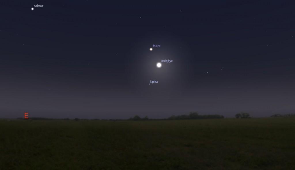 Księżyc Mars i Spika 14.04.2014