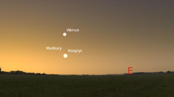 Księżyc,  Wenus i Merkury 25.07.2014