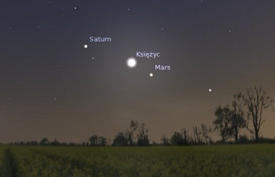 Księżyc Mars i Saturn 03.08.2014