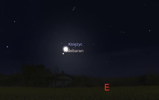 Księżyc i Aldebaran 2014.09.14