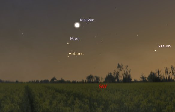 Księżyc, Mars i Antares 2014.09.29