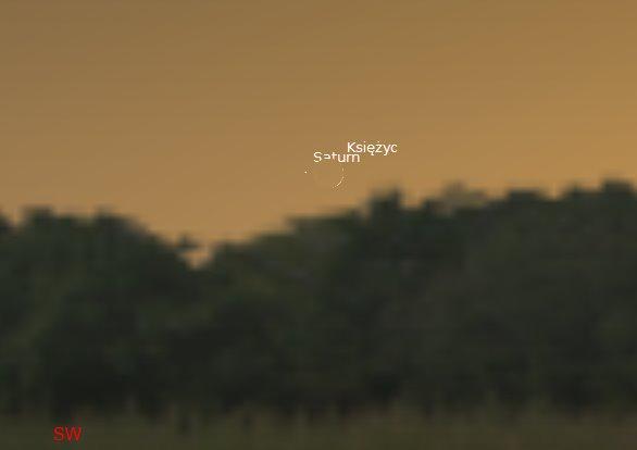 Księżyc i Saturn 2014.10.25