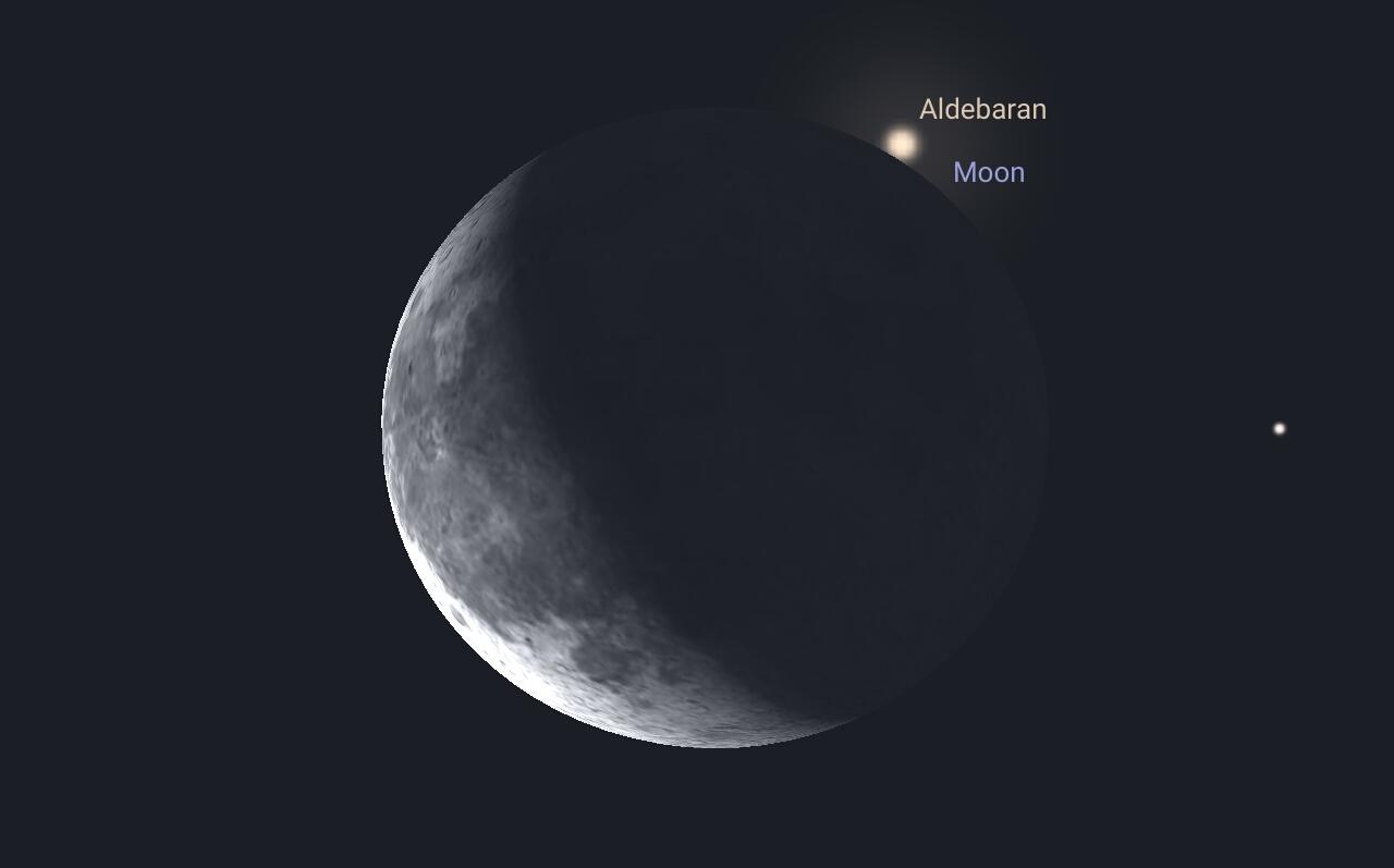 Aldebaran wyłania się zza tarczy Księżyca 9.8.2015 godz. 1:10