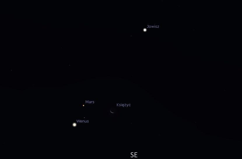 Wenus Księżyc Mars Jowisz 2015.11.07