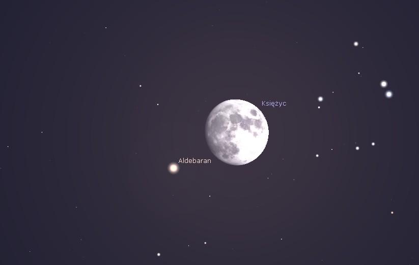 Aldebaran i Księżyc 23.12.2015