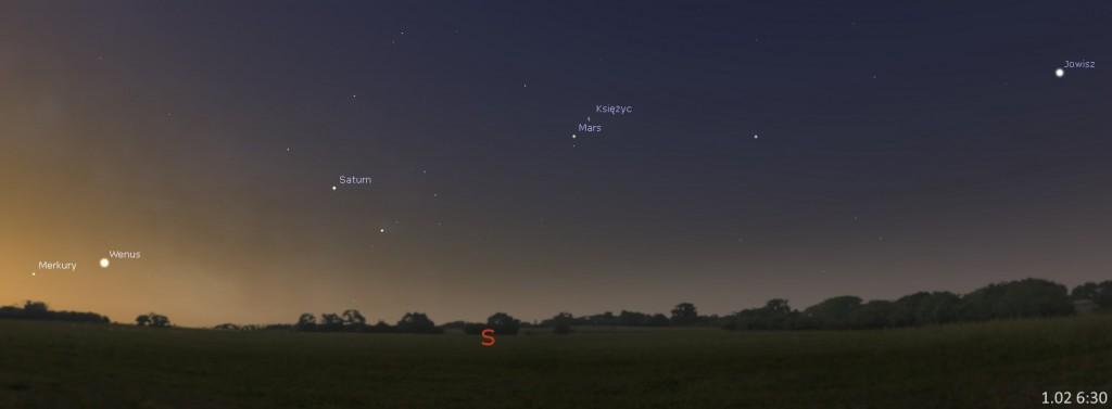 Układ planet, spotkanie Marsa z Księżycem 01.02, 6:30. Kliknij, aby powiększyć (źr. Stellarium)
