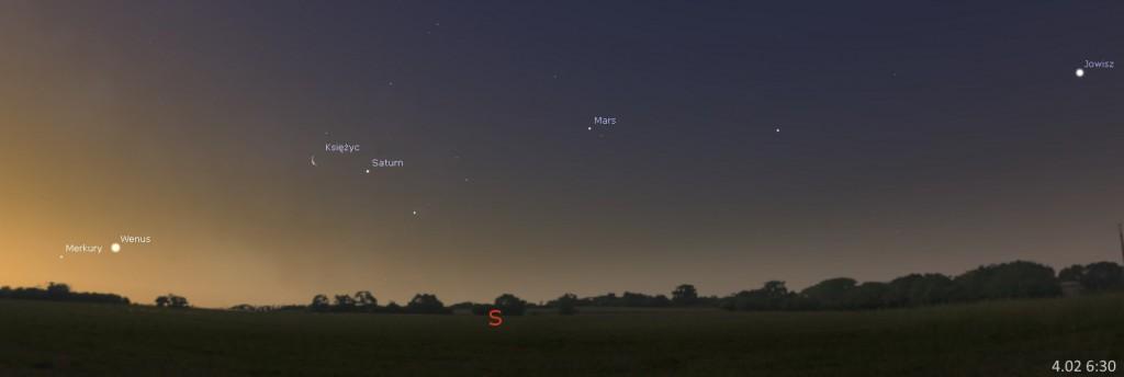 Układ planet, spotkanie Saturna z Księżycem 04.01, 6:30. Kliknij, aby powiększyć (źr. Stellarium)