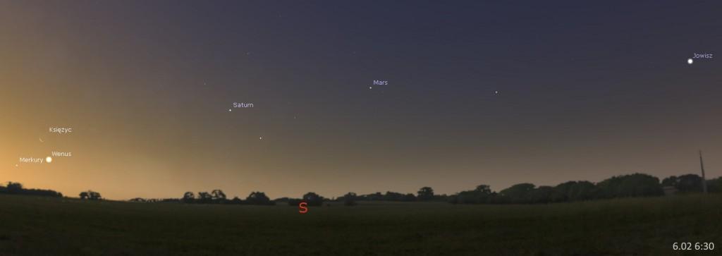 Układ planet, spotkanie Wenus i Merkurego z Księżycem 06.02, 6:30. Kliknij, aby powiększyć (źr. Stellarium)