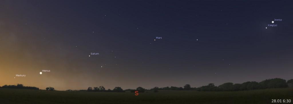 Układ planet, spotkanie Jowisza z Księżycem 28.01, 6:30. Kliknij, aby powiększyć (źr. Stellarium)