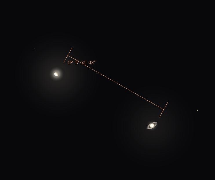Wenus i Saturn 9.01.2015 separacja (źr. Stellarium)