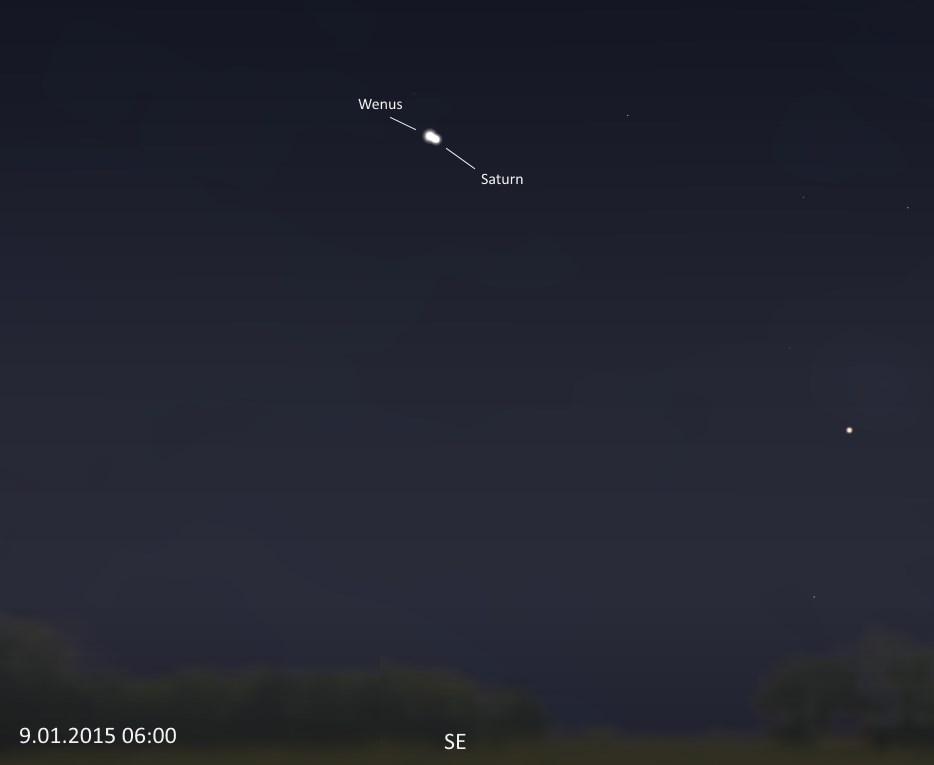 Wenus i Saturn szerokie pole 9.01.2015