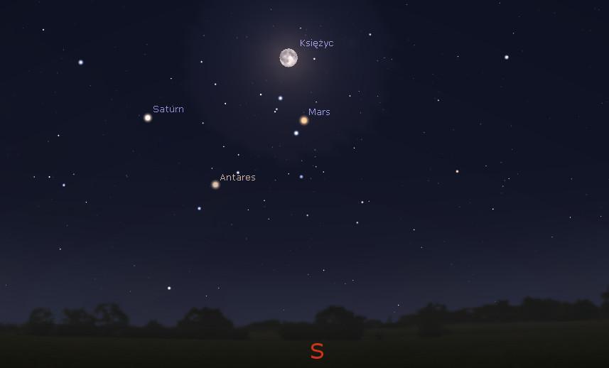 Mars w opozycji, 22.05.2016, godz 01:00 (źr. Stellarium)