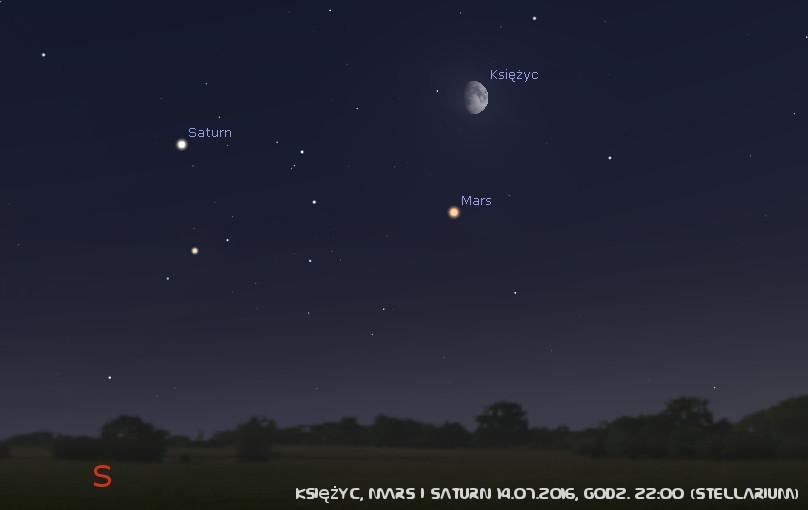Księżyc, Mars i Saturn 14.07.2016