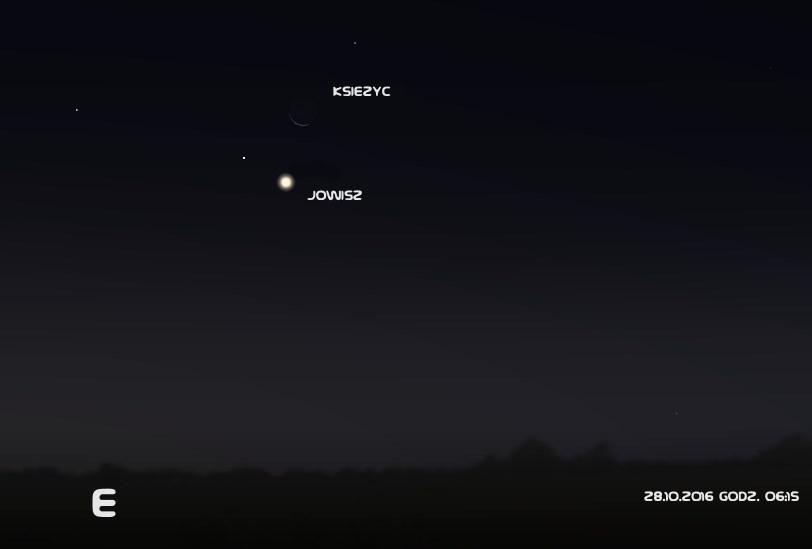 Jowisz i Księżyc 28.10.2016 godz. 6:15 (źr. Stellarium)