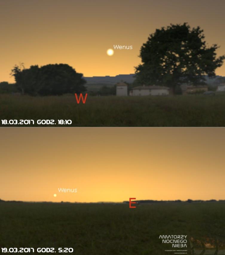 Wenus wieczorem i rano 18/19 marca 2017 (źr. Stellarium)